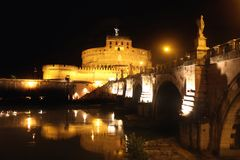 Castel Sant' Angelo night in Rome, Italy Royalty Free Stock Photography