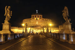 Castel Sant' Angelo night in Rome, Italy Stock Images