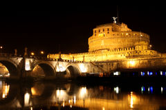 Castel Sant' Angelo night in Rome, Italy Stock Photos