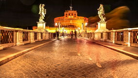 Castel Sant Angelo night. Rome, Italy - June 17, 2016: Castel Sant'Angelo castle in Rome city, Italy at night with tourists moving. Located beside Tiber river stock video