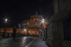 Castel Sant 'Angelo Night scenisk sikt arkivbild