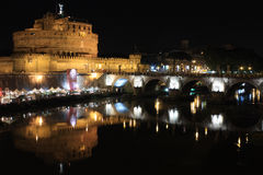 Castel sant'angelo in a night of summer Stock Photos