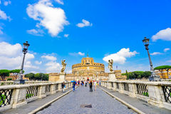 Castel Sant ` Angelo och Aelian bro i Rome Royaltyfri Foto