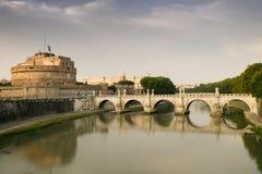 Castel Sant'Angelo och Ponte Sant'Angelo arkivbild