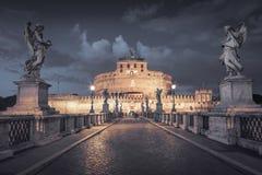 Castel Sant ' Angelo på natten Arkivfoto