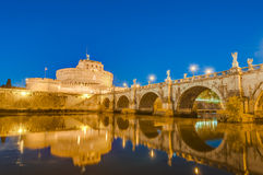 Castel Sant Angelo in Parco Adriano, Rome, Italy. The Mausoleum of Hadrian, usually known as the Castle of the Holy Angel (Castel Sant Angelo), a towering Royalty Free Stock Images