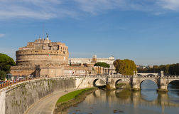 Castel Sant'Angelo and Ponte Sant'Angelo Royalty Free Stock Photography