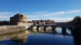 Castel Sant`Angelo, reflection, river, water, landmark. Castel Sant`Angelo is reflection, landmark and château. That marvel has river, bridge and waterway and royalty free stock photos