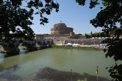 Castel Sant`Angelo, reflection, sky, water, tourist attraction. Castel Sant'Angelo is reflection, tourist attraction and historic site. That marvel has sky, tree royalty free stock photo