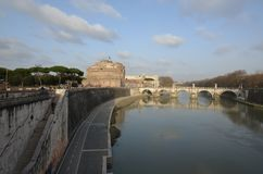 Castel Sant`Angelo, reflection, sky, waterway, body of water. Castel Sant`Angelo is reflection, body of water and bridge. That marvel has sky, water and cloud Stock Photo