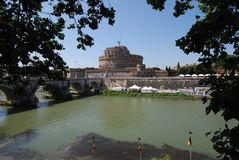 Castel Sant`Angelo, reflection, water, sky, waterway. Castel Sant'Angelo is reflection, waterway and tree. That marvel has water, tourist attraction and plant royalty free stock photography