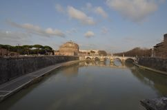 Castel Sant`Angelo, reflection, waterway, sky, body of water. Castel Sant`Angelo is reflection, body of water and moat. That marvel has waterway, water and cloud royalty free stock image