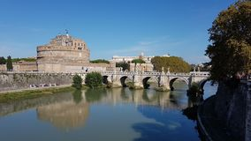 Castel Sant Angelo and the river Tevere in Rome royalty free stock images