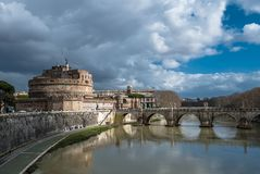 Castel Sant Angelo at River Tiber in Rome in Italy. At rainy weather stock image