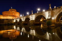 Castel Sant'Angelo and river Tiber view at night, Rome, Italy Stock Photo