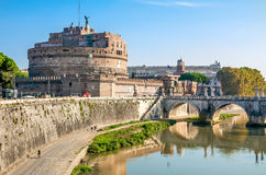 Castel Sant'Angelo in Rome. Rome, Castel Sant'Angelo on the Tiber. Architect Bernini Royalty Free Stock Image