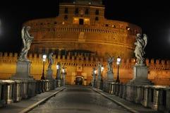 Castel Sant ` Angelo, Rome bij Nacht Royalty-vrije Stock Foto's