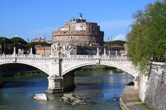 The Castel Sant`angelo, Rome, fortress, Museum, residence of the Vatican, ancient Rome Italy Pope Stock Images