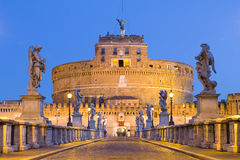 Castel Santangelo in Rome, Italy. Castel Santangelo and Berninis statue on the bridge, Rome, Italy royalty free stock images