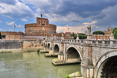 Castel Sant Angelo in Rome, Italy. Bridge and Castel Sant Angelo and Tiber River. Built by Hadrian emperor as mausoleum in 123AD stock photography