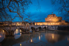 Castel Sant` Angelo, Rome, Italy. Castle Saint Angelo and bridge over river Tiber in the summer evening. Rome, Italy stock images