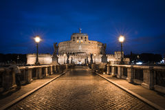Castel Sant` Angelo, Rome, Italy. Castle Saint Angelo and bridge over river Tiber in the summer evening. Rome, Italy royalty free stock photos