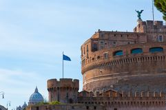 Castel Sant Angelo in Rome, Italy. The Mausoleum of Hadrian, known as Castel Sant Angelo and St. Peter's cathedral, Rome, Italy Stock Photography