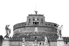 Castel Sant`Angelo. Rome, Italy. Monochrome photography. Stock Photos