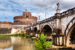 Castel Sant'Angelo, Rome, Italy. Tiber river and the Sant'Angelo bridge Royalty Free Stock Image