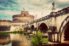 Castel Sant'Angelo, Rome, Italy. Tiber river and the Sant'Angelo bridge Stock Photography