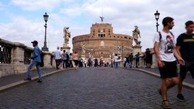 Castel Sant'Angelo in Rome. Italy. Rome, Italy 06.07.2015 Tourists at Castel Sant'Angelo in Rome. Built around 123 A.D. as a tomb for Emperor Hadrian and his stock footage