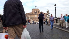 Castel Sant'Angelo in Rome. Italy. Rome, Italy 06.07.2015 Tourists at Castel Sant'Angelo in Rome. Built around 123 A.D. as a tomb for Emperor Hadrian and his stock video