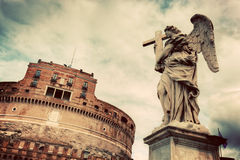 Castel Sant'Angelo, Rome, Italy. View from the bridge. Vintage Royalty Free Stock Photos