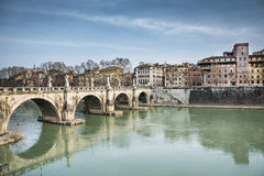 Castel sant'angelo's bridge Royalty Free Stock Images