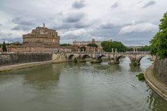 Castel Sant`Angelo Saint Angel Castle and bridge over Tiber River - Rome, Italy Stock Photos