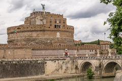Castel Sant`Angelo Saint Angel Castle and bridge over Tiber River - Rome, Italy Stock Photo