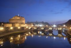 Castel Sant'Angelo and the Sant'Angelo bridge Royalty Free Stock Image