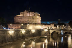 Castel Sant Angelo and the Sant Angelo bridge at night Royalty Free Stock Photo