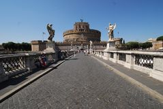 Castel Sant`Angelo, sky, landmark, tourist attraction, historic site. Castel Sant'Angelo is sky, historic site and city. That marvel has landmark, bridge and royalty free stock photos