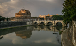 Castel Sant'Angelo at Sunset Stock Images