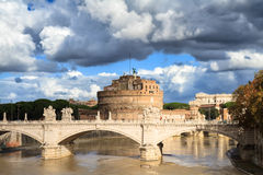 Castel Sant'Angelo under a cloudy sky Royalty Free Stock Images