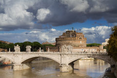 Castel Sant'Angelo under a cloudy sky Royalty Free Stock Photo