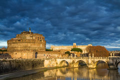 Castel Sant'Angelo under a dramatic sky Stock Images