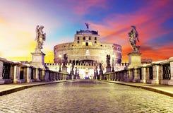 Castel Sant Angelo van brug, Rome Royalty-vrije Stock Afbeeldingen