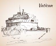 Castel Sant`Angelo, Vatican city. Sketch. Castel Sant`Angelo, Vatican city. Italy. Sketch. Isolated on white background Royalty Free Stock Image