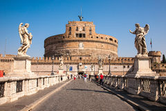 Castel Sant'Angelo view from the front. In Rome, Italy royalty free stock image