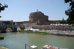 Castel Sant`Angelo, waterway, river, water, reflection. Castel Sant`Angelo is waterway, reflection and city. That marvel has river, sky and fortification and stock image