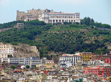 Castel Sant`Elmo in Naples. Cityscape and Castel Sant`Elmo on the hilltop of Vomero Stock Images