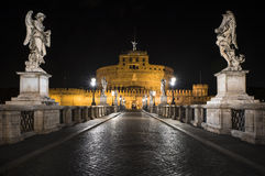 Castel St. Angelo at night in Rome, Italy Royalty Free Stock Photography