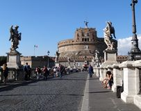 Castel SantAngelo from the Bridge of Angels, Rome, Italy Royalty Free Stock Photos